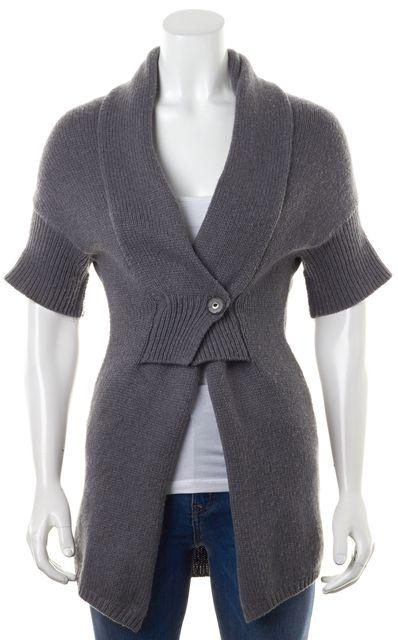 BRUNELLO CUCINELLI Gray Cashmere Knit Wrap Short Sleeve Cardigan Sweater