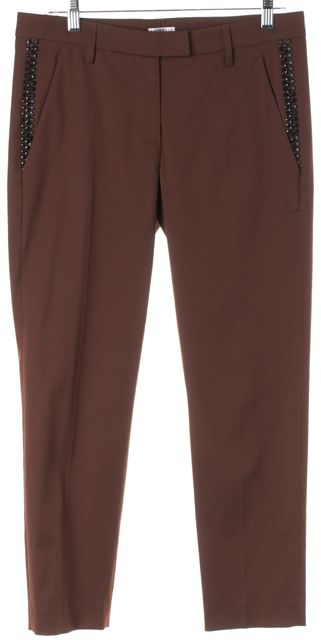 BRUNELLO CUCINELLI Brown Embellished Wool Pleated Dress Pants