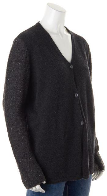 BRUNELLO CUCINELLI Dark Gray Cashmere Contrast Sleeves Cardigan Sweater
