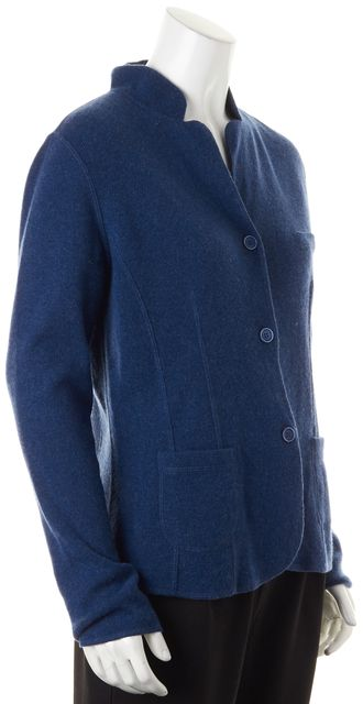 BRUNELLO CUCINELLI Blue Cashmere Knit Three-Button Sweater Jacket