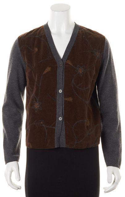 BRUNELLO CUCINELLI Gray Brown Embroidered Velvet Wool Cashmere Cardigan