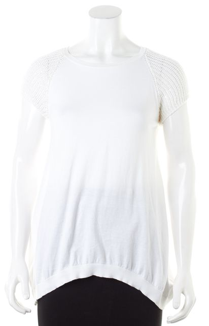 BRUNELLO CUCINELLI White Cotton Sequin Embellished Sleeves Knit Top
