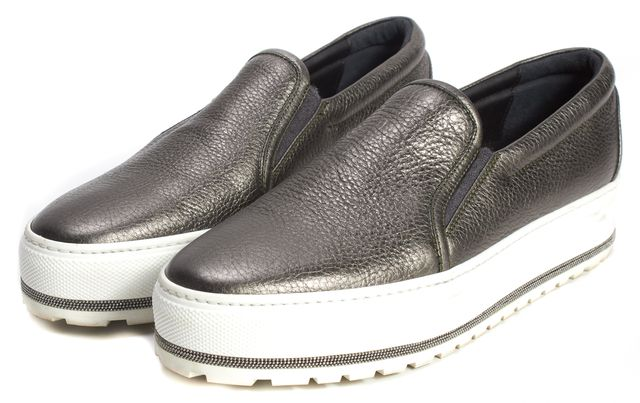 BRUNELLO CUCINELLI Gray Leather Chain Sole Platform Slip-On Sneakers