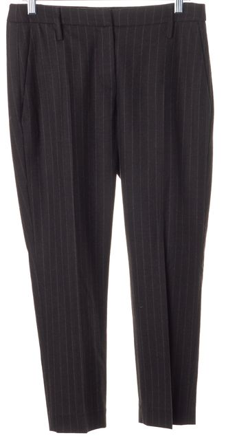BRUNELLO CUCINELLI Brown Pinstriped Wool Cropped Dress Pants