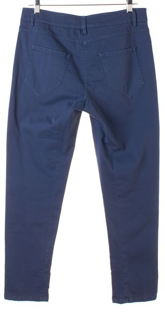 BRUNELLO CUCINELLI Blue Stretch Cotton Twill Cropped Chinos Pants