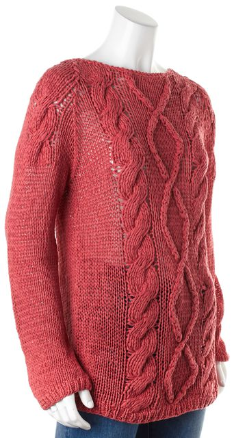 BRUNELLO CUCINELLI Pink Cotton Linen Semi-Sheer Chunky Knit Sweater
