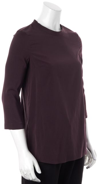 BRUNELLO CUCINELLI Burgundy Red Long Sleeve Silk Blouse