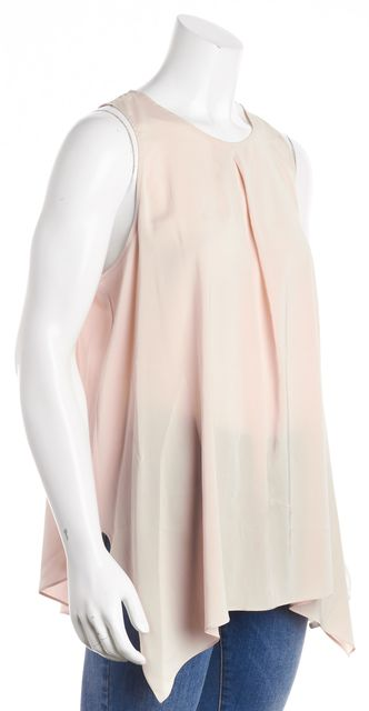 BRUNELLO CUCINELLI Pink Silk Pleated Front Sleeveless Blouse Top