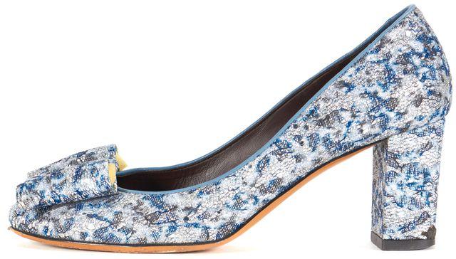 BRUNO MAGLI Metallic Blue Lace Bow Pump Heels