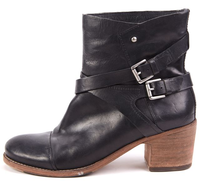 BELLE SIGERSON MORRISON Black Two-Strap Leather Heeled Ankle Boots