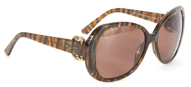 BVLGARI Brown Abstract Lion Detail Butterfly Sunglasses w/ Case