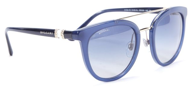 BVLGARI Navy Blue Round Sunglasses W/ Case
