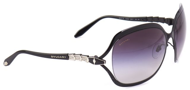 BVLGARI Black Gradient Lens Crystal Embellished Oversized Square Sunglasses