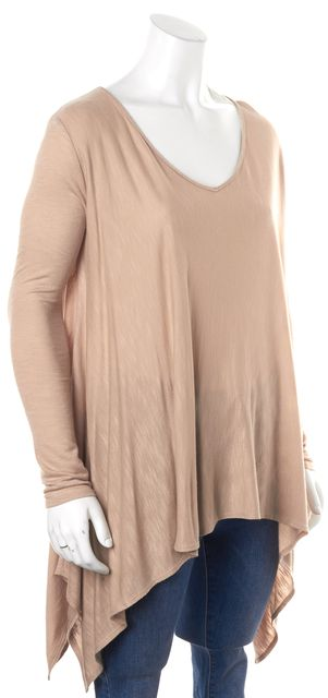 CALYPSO Beige Long Sleeve Asymmetrical Helm V-Neck Tunic Top