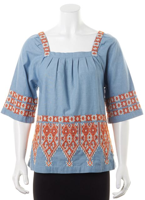 CALYPSO Blue Orange White Bohemian Embroidered Chambray Blouse