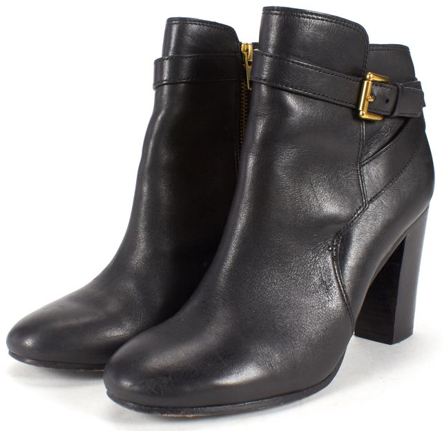 COACH Black Leather Buckle Detail Heel Ankle Boots