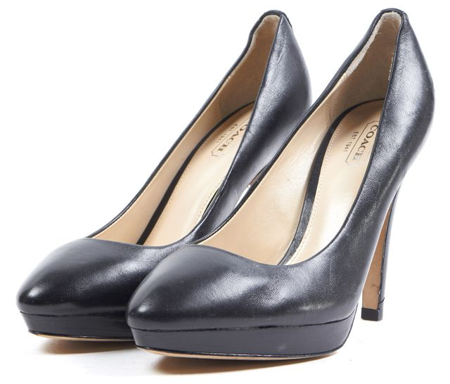 COACH Black Leather Almond Toe Chelsie Pumps Heels