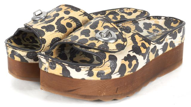 COACH White Leopard Leather Turnlock Shower Slide Sandal Platform Shoes