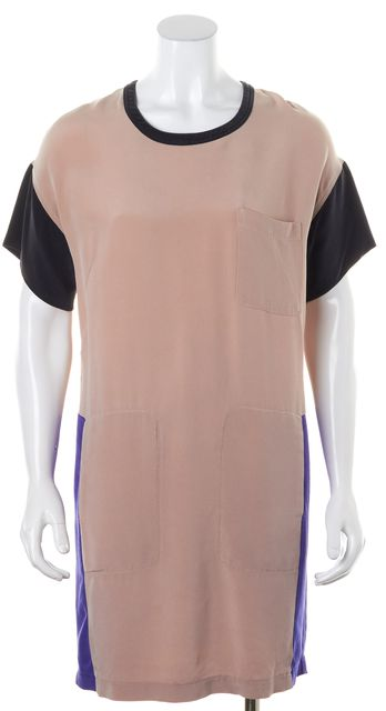 CEDRIC CHARLIER Nude Pink Blue Black Colorblock Silk Shift Dress