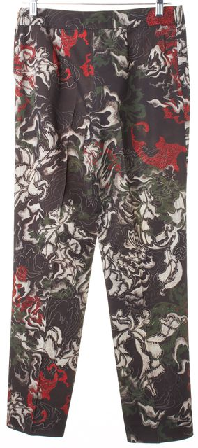 CEDRIC CHARLIER Black Red Green Abstract Print Wool Dress Pants