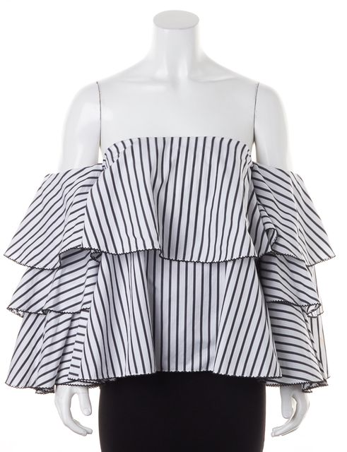 CAROLINE CONSTAS White Black Striped Layered Off-Shoulder Blouse Top