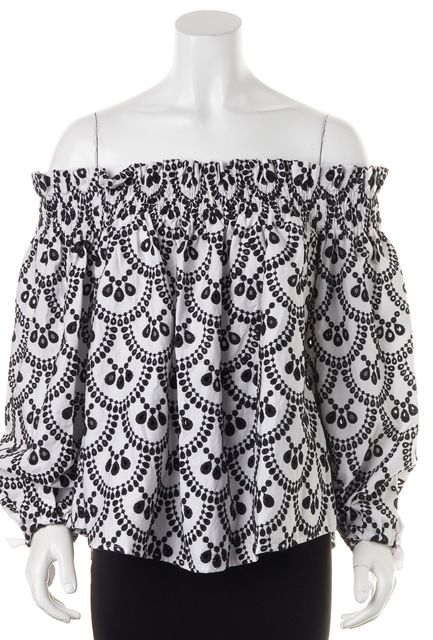 CAROLINE CONSTAS White Black Long Sleeve Perforated Blouse