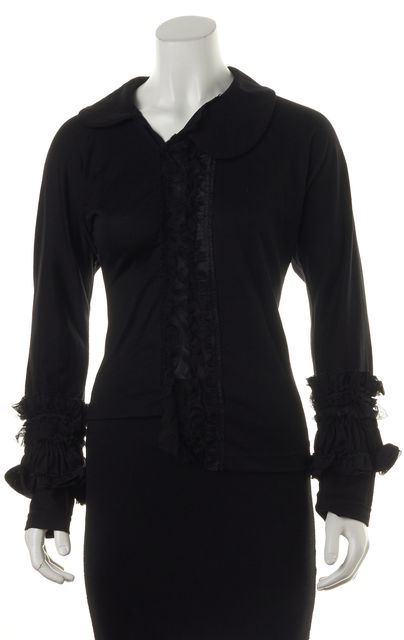COMME DES GARÇONS Black Ruffle Embellished Wool Knit Asymmetrical Top