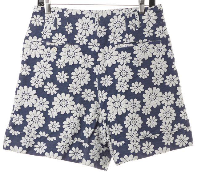 COMME DES GARÇONS Blue White Floral Embroidered Bermuda Shorts