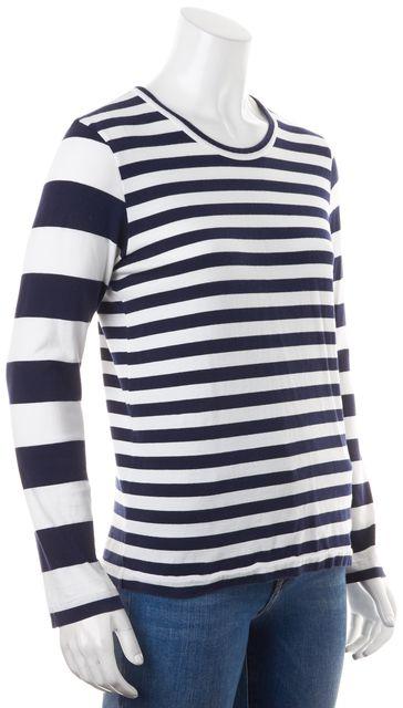 COMME DES GARÇONS Navy Blue White Striped Top
