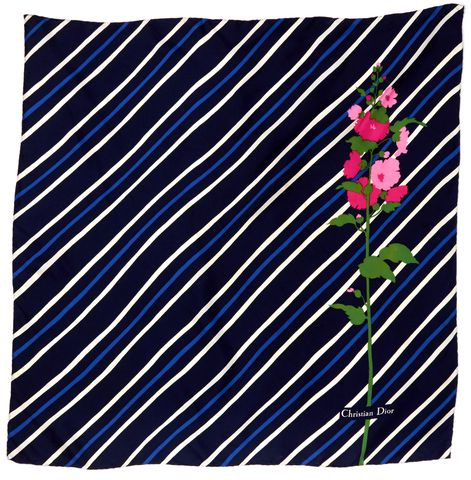 CHRISTIAN DIOR Blue Pink Silk Striped Floral Large Scarf