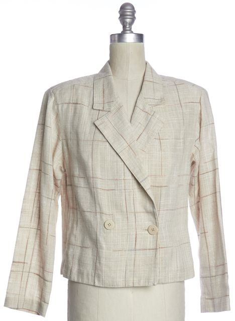 DIOR CHRISTIAN DIOR Beige Multi Plaid Check Double Breasted Jacket