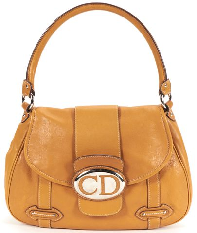CHRISTIAN DIOR Authentic Brown Leather CD Flap Shoulder Bag