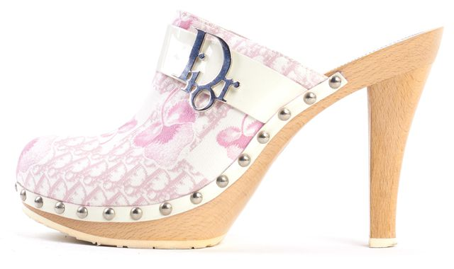 DIOR Pink White Canvas Patent Leather Monogram Print Wooden Clogs