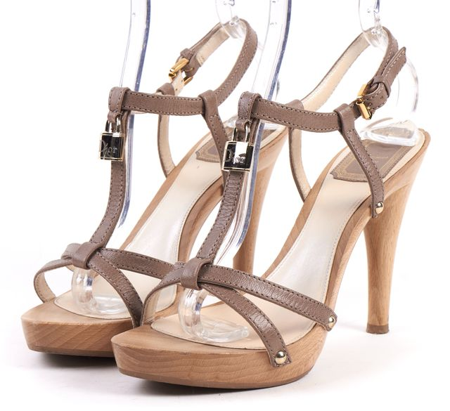 DIOR Taupe Leather Wooden Platform Lock Detail T Strap Heeled Sandal