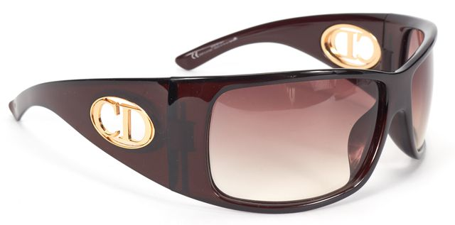 CHRISTIAN DIOR Brown Acetate Gradient Flavour 1 Rectangular Shield Sunglasses