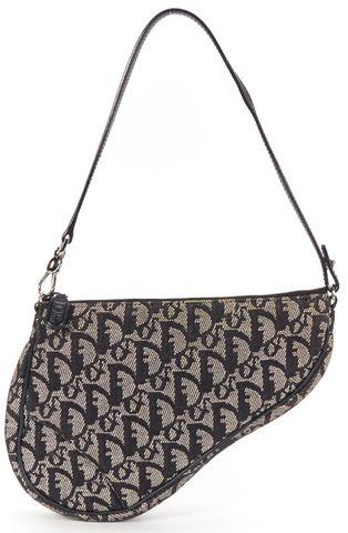 CHRISTIAN DIOR Authentic Black Gray Monogram Canvas Shoulder Bag