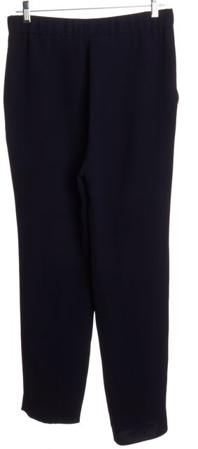 DIOR CHRISTIAN DIOR Navy Blue Silk Pleated Elasticized Waist Wide Leg Trouser
