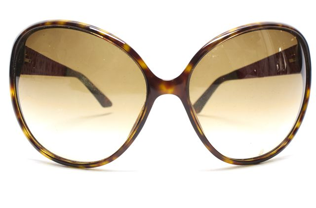 CHRISTIAN DIOR Brown Tortoise Red Quilted Arm Round Sunglasses