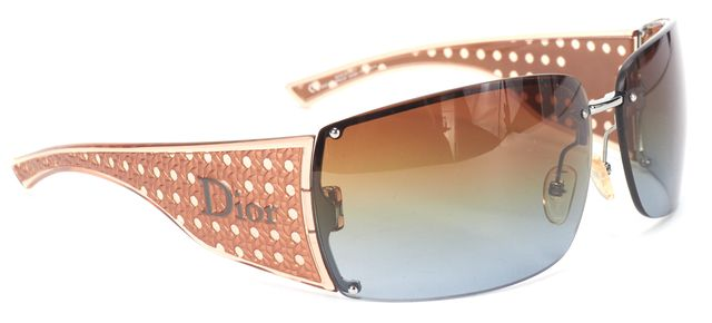 CHRISTIAN DIOR Brown Rimless Gradient Rectangle Lens Cooper Arms Sunglasses