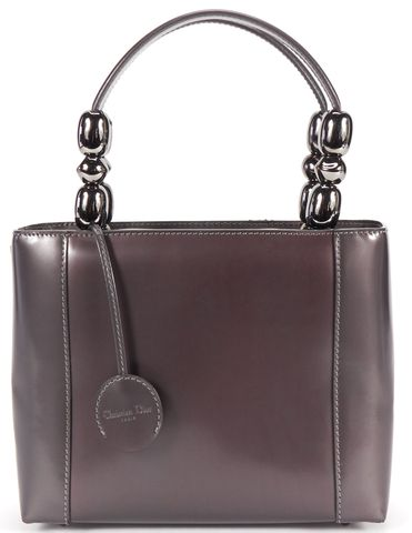 CHRISTIAN DIOR Purple Brown Pewter Leather Small Top Handle Bag