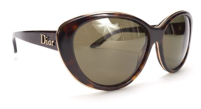 "CHRISTIAN DIOR Brown ""Bagatelle"" Metallic Inset Cat Eye Sunglasses"