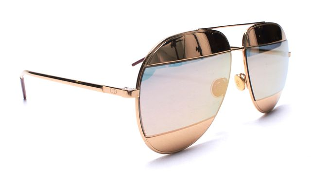 DIOR CHRISTIAN DIOR Gold Frame Mirror DiorSplit Two-Tone Metallic Aviator Sunglasses