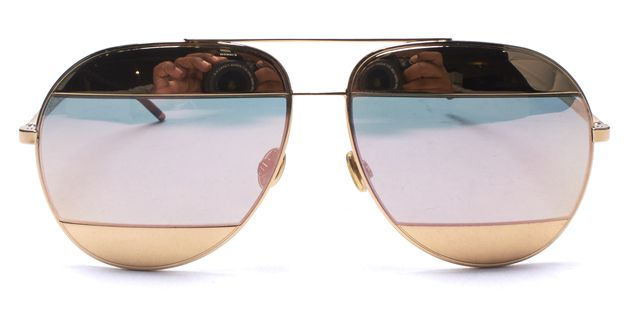 DIOR CHRISTIAN DIOR Gold Frame Mirror DiorSplit Two-Tone Metallic Aviator Sunglasses