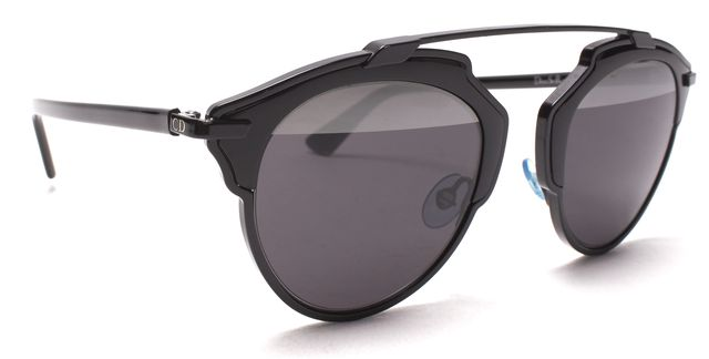 DIOR CHRISTIAN DIOR Black Metal Frame Dior So Real Brow Bar Sunglasses