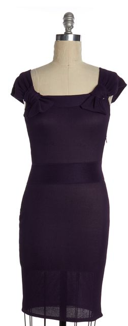 DIOR Purple Knit Cap Sleeve Bow Detail Sheath Dress