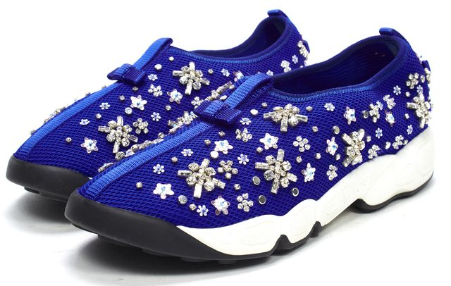DIOR Blue Floral Crystal Embellished Fusion Sneakers