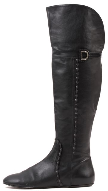 DIOR Black Leather Scallop Detail Knee High Boots