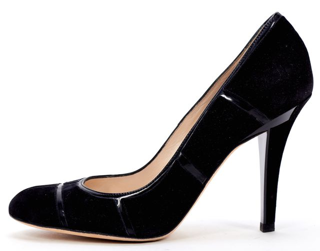 DIOR Black Suede Patent Leather Trim Pumps Heels