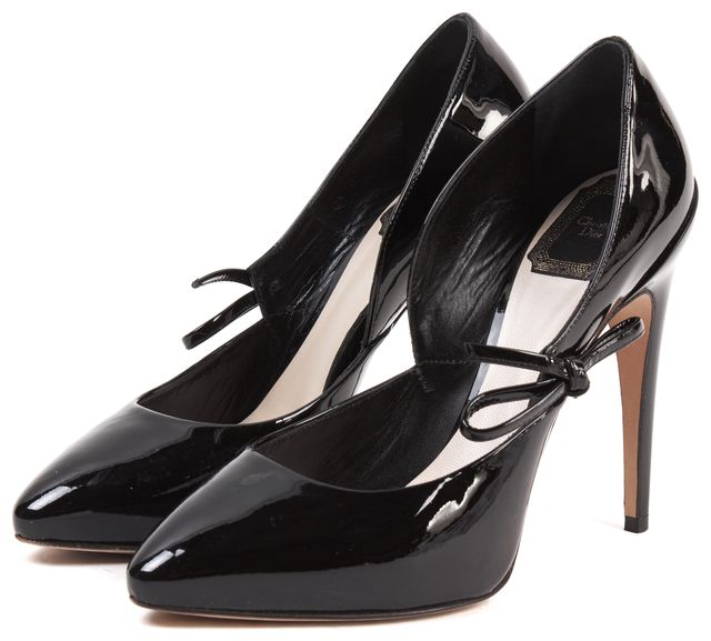 DIOR Black Patent Leather Bow Detail Heels