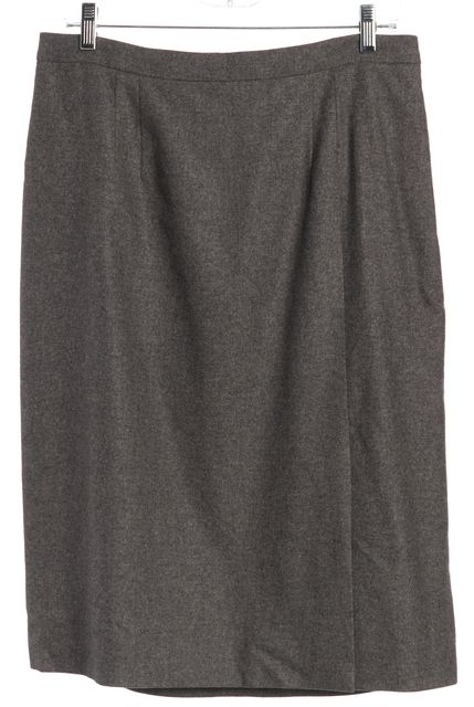 DIOR Gray Virgin Wool Blend Side Split Zip-Up Back Straight Skirt